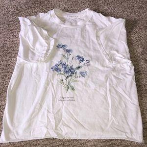 brandy melville white flower shirt